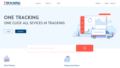 What 1tracking.net website looks like in 2021