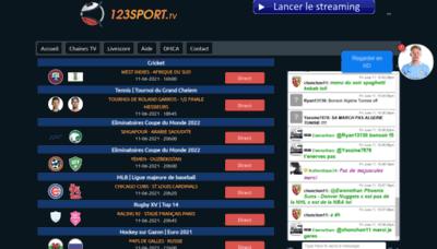 What 123sport.tv website looks like in 2021