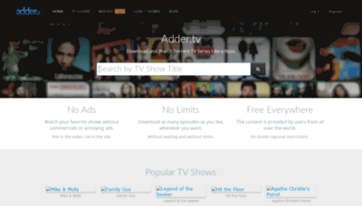 What Adder.tv website looked like in 2019 (2 years ago)