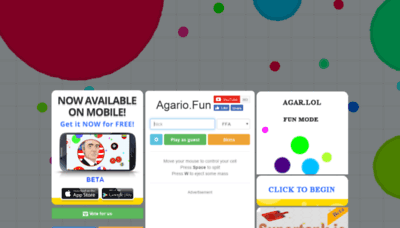 What Agario.fun website looked like in 2019 (2 years ago)