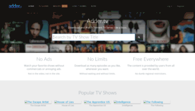What Adder.tv website looked like in 2020 (1 year ago)