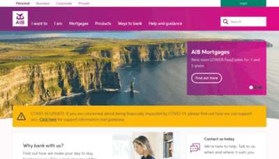 What Aib.ie website looked like in 2020 (1 year ago)
