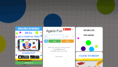 What Agario.fun website looked like in 2020 (1 year ago)