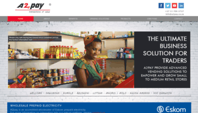 What A2pay.co.za website looks like in 2021