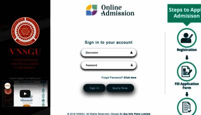 What Admission.vnsgu.net website looks like in 2021