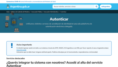 What Autenticar.gob.ar website looks like in 2021
