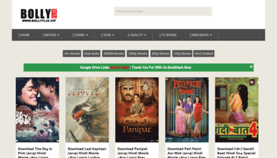 What Bollyflix.vip website looked like in 2019 (1 year ago)