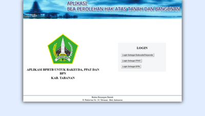 What Bphtb-online.tabanankab.go.id website looked like in 2020 (1 year ago)
