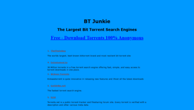 What Btjunkie.net website looked like in 2020 (1 year ago)