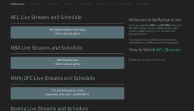 What Buffstream.live website looks like in 2021