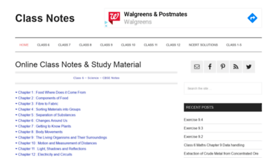 What Classnotes.org.in website looked like in 2020 (1 year ago)