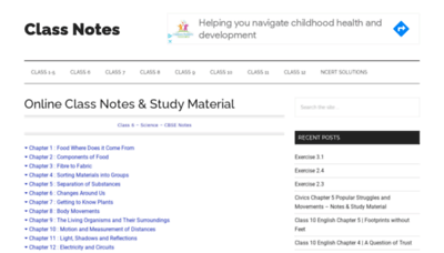 What Classnotes.org.in website looks like in 2021