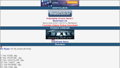 What Dosticlub.in website looked like in 2015 (6 years ago)