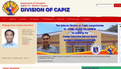 What Depedcapiz.ph website looked like in 2018 (3 years ago)