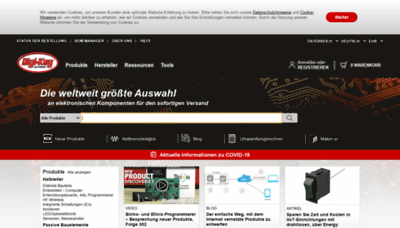What Digikey.at website looked like in 2020 (1 year ago)