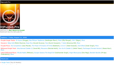 What Djpunjab.pro website looked like in 2020 (1 year ago)
