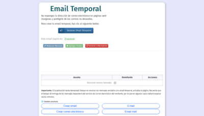 What Emailtemporal.org website looked like in 2018 (2 years ago)