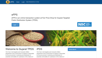 What Efps.gujarat.gov.in website looked like in 2019 (2 years ago)