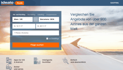What Flug.idealo.at website looked like in 2017 (3 years ago)