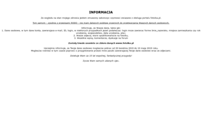 What Fotoik.pl website looked like in 2019 (1 year ago)