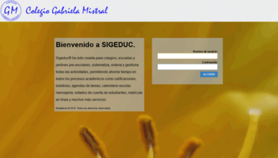 What Gabrielamistralpanama.sigeduc.com.pa website looked like in 2018 (2 years ago)