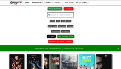 What Hdmovieshub.pw website looked like in 2019 (1 year ago)