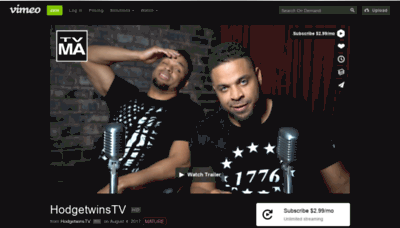 What Hodgetwins.tv website looked like in 2019 (1 year ago)