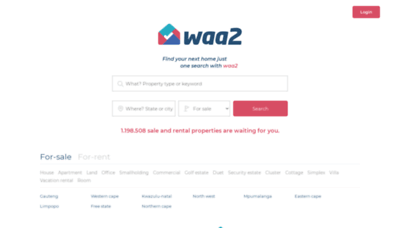 What Homes.waa2.co.za website looked like in 2020 (This year)