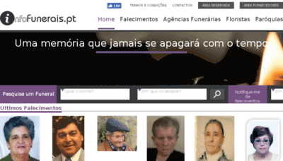 What Infofunerais.pt website looked like in 2016 (4 years ago)
