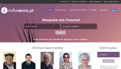 What Infofunerais.pt website looked like in 2018 (3 years ago)