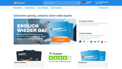 What Igiftcards.de website looked like in 2020 (1 year ago)