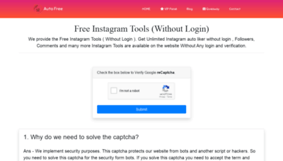 What Instagram.autofree.in website looks like in 2021