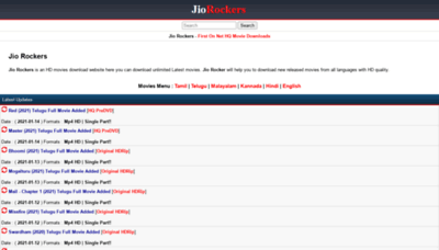 What Jiorockers.site website looks like in 2021
