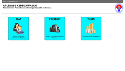 What Kepegawaian.kemenpora.go.id website looked like in 2020 (1 year ago)