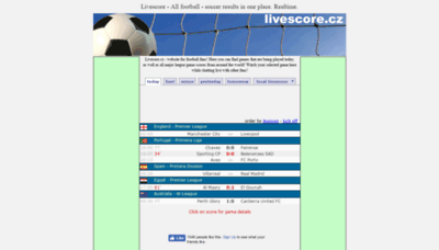 What Livescore.cz website looked like in 2019 (2 years ago)