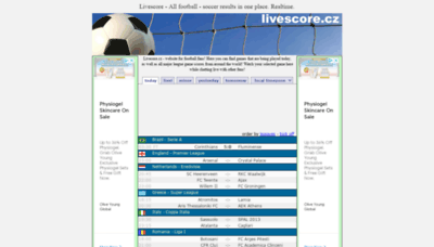 What Livescore.cz website looks like in 2021