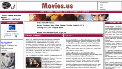 What Movies.us website looked like in 2012 (8 years ago)