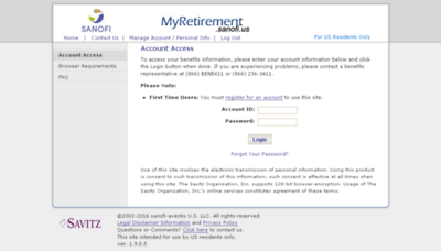 What Myretirement.sanofi.us website looked like in 2017 (4 years ago)