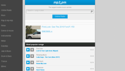 What Mp3.pm website looked like in 2017 (3 years ago)