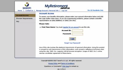 What Myretirement.sanofi.us website looked like in 2018 (3 years ago)