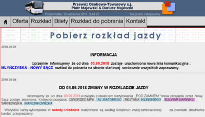 What Majewskibus.pl website looked like in 2018 (3 years ago)