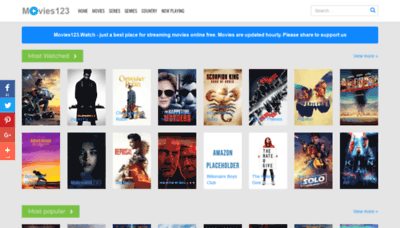 What Movies123.watch website looked like in 2018 (2 years ago)