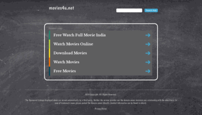 What Movies4u.net website looked like in 2019 (2 years ago)