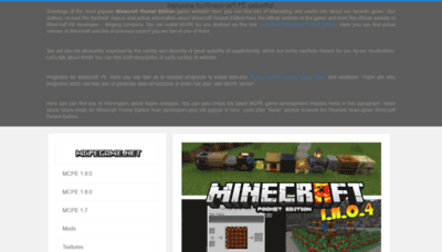 What Mcpegame.net website looked like in 2019 (2 years ago)