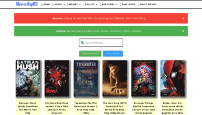 What Moviezwaphd.in website looked like in 2019 (1 year ago)