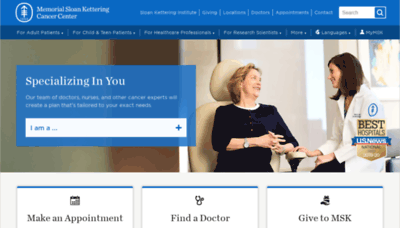 What Mskcc.org website looked like in 2019 (1 year ago)