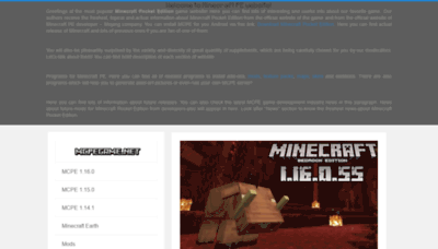 What Mcpegame.net website looked like in 2020 (1 year ago)