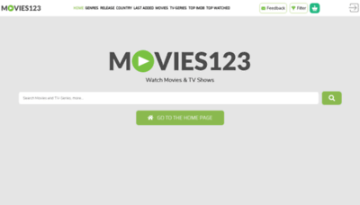 What Movies123.show website looks like in 2021