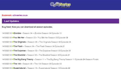 What O2tvseries.co.za website looked like in 2018 (2 years ago)