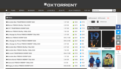 What Oxtorrent.fr website looked like in 2020 (1 year ago)
